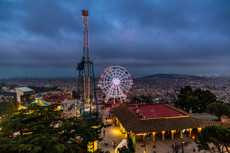 carrousel: Carrousel in Tibidabo Amusement Park in Barcelona, Spain at night Stock Photo