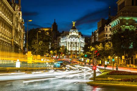 the old road: Metropolis hotel in Madrid in a beautiful summer night, Spain