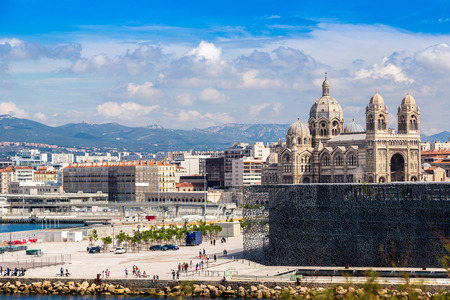 major ocean: Saint Jean Castle and Cathedral de la Major and the Vieux port in Marseille, France