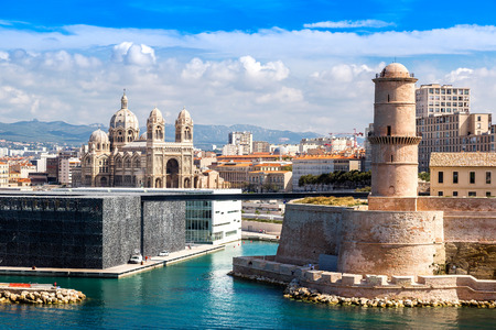 france: Saint Jean Castle and Cathedral de la Major and the Vieux port in Marseille, France