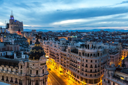 Panoramical aerial view of Madrid in a beautiful summer night, Spain 免版税图像