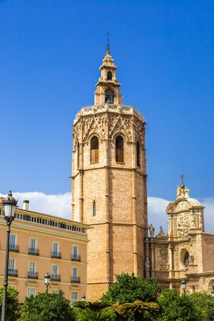 valencia: Bell tower and Valencia Cathedral in Valencia, Spain