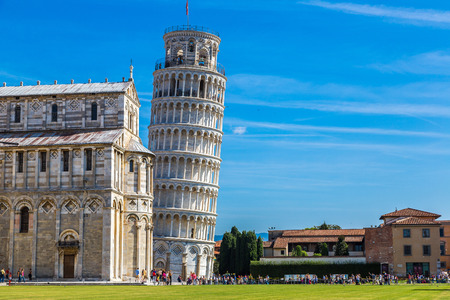 pisa tower: Leaning tower and Pisa cathedral in a summer day in Pisa, Italy