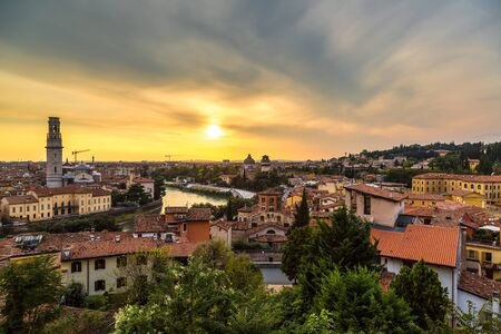 italy: Panoramic view of Verona at sunset in Italy Stock Photo