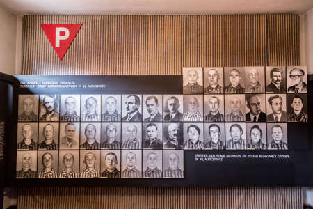 death camp: OSWIECIM, POLAND - JULY 22: Exhibition in Concentration camp in Auschwitz. It is the biggest nazi concentration camp in Europe on July 22, 2014 in Oswiecim, Poland