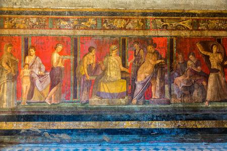 Pared pintada en la ciudad de Pompeya destruida en 79BC por la erupción del Vesubio Foto de archivo - 45438598
