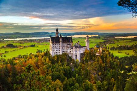fantasy landscape: Neuschwanstein castle in a summer day in Germany