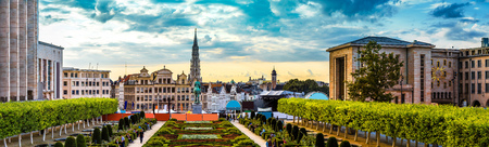 panorama city panorama: Panorama of Brussels in a beautiful summer day Stock Photo