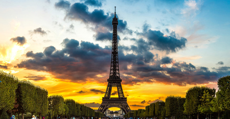 eiffel: Eiffel Tower at sunset is the most visited monument in France and the most famous symbol of Paris