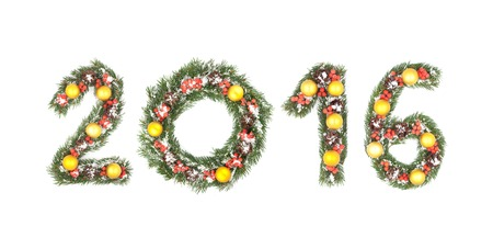 hollyberry: 2016 number written by christmas tree branches isolated on a white background