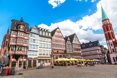 the medieval: Old traditional buildings in Frankfurt, Germany  in a summer day Stock Photo