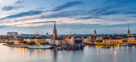 stan: Scenic summer night panorama of the Old Town (Gamla Stan) architecture in Stockholm, Sweden