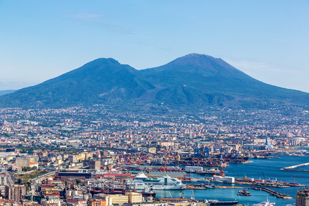 Napoli: Napoli (Naples) and mount Vesuvius in the background at sunset in a summer day, Italy, Campania