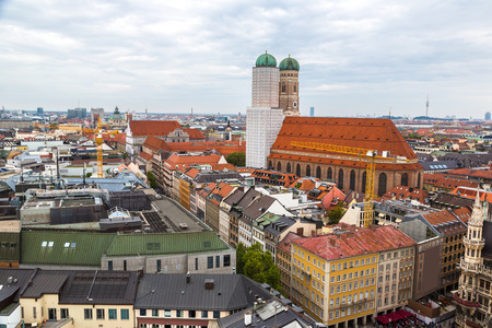frauenkirche: Aerial view on Frauenkirche in Munich, Germany