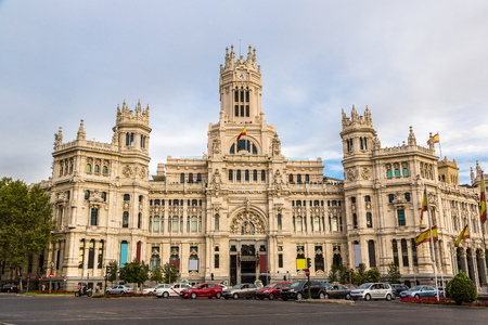 cibeles: Cibeles Palace in Madrid in a beautiful summer day, Spain Stock Photo