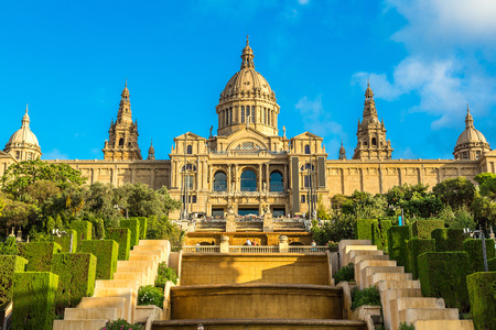 spain: Placa de Ispania (The National Museum) in Barcelona, Spain in a summer day