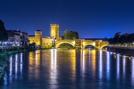 heritage protection: Castle Vecchio at summer night  in Verona, Italy Stock Photo