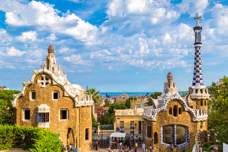 barcelona: Park Guell by architect Gaudi in a summer day  in Barcelona, Spain. Stock Photo