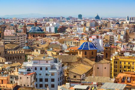 spain: Aerial view of Valencia in a summer day, Spain Stock Photo