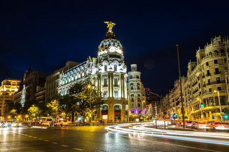 Metropolis hotel in Madrid in a beautiful summer night, Spain