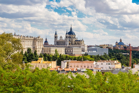 spain: Skyline view of Almudena Cathedral and Royal Palace in Madrid, Spain