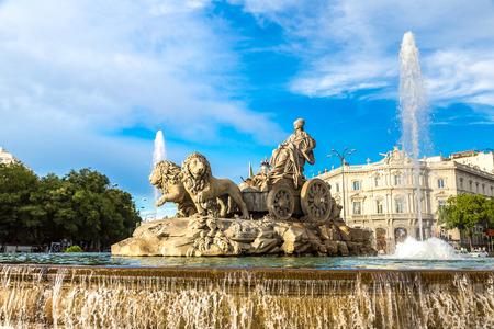 spain: Cibeles fountain at Plaza de Cibeles in Madrid in a beautiful summer day, Spain