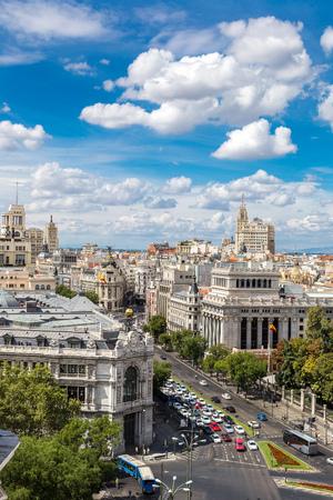 cibeles: Aerial view  Plaza de Cibeles in Madrid in a beautiful summer day, Spain