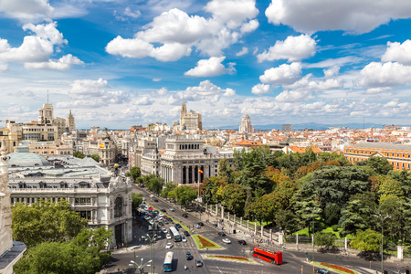 flag of spain: Aerial view  Plaza de Cibeles in Madrid in a beautiful summer day, Spain