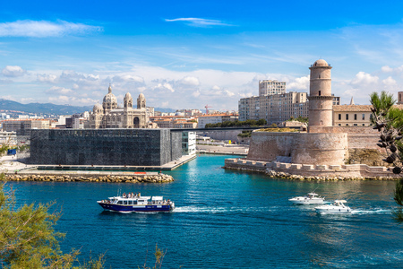 jeans: Saint Jean Castle and Cathedral de la Major and the Vieux port in Marseille, France