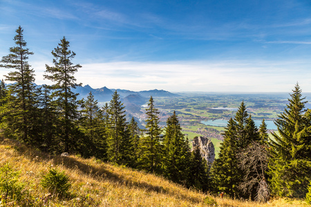 fantasy landscape: Alps and lakes in a summer day in Germany.