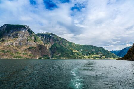 sea cliff: View to Sognefjord in Norway. Country landscape