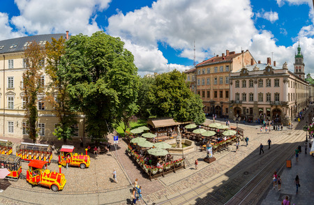 lvov: Market square - historical and tourist centre of  Lvov, Ukraine. Historical centre of Lviv