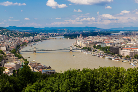 building a chain: Panoramic view of a building of the Hungarian parliament, Danube and chain Secheni Bridge