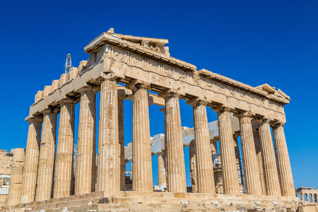 Parthenon temple on the Acropolis in a summer day in Athens, Greece