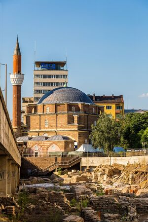 tourist attraction: The Banja Baschi mosque in Sofia, Bulgaria in a summer day