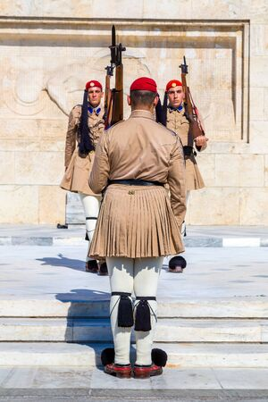 ceremonial: ATHENS, GREECE - JULY 19: Ceremonial changing guards in Athens, Greece in a summer day on July 19, 2015