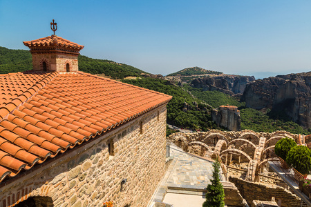 kalampaka: View from balcony of monastery on the top of rock in a summer day  in Meteora, Greece