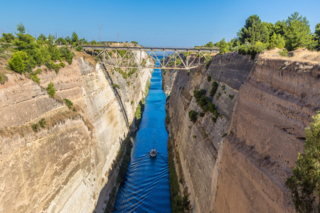 greece: Corinth channel in Greece in a summer day