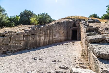 treasury: Treasury of Atreus in a summer day in Mycenae, Greece Stock Photo