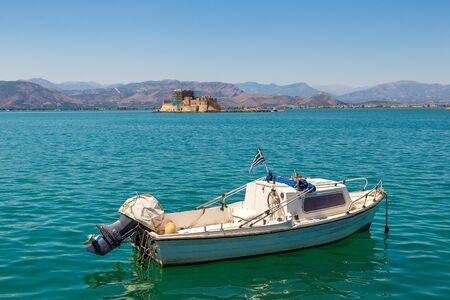 nafplio: Bourtzi fortress in Greece, Nafplion in a beautiful summer day Stock Photo