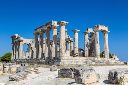 classical greece: Aphaia temple on Aegina island in a summer day in Greece Stock Photo