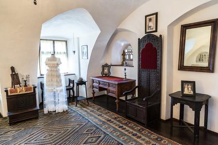 dracula: TRANSYLVANIA, ROMANIA - JUNE 15, 2015: Interior of Bran Castle (Draculas Castle)  in a summer day in Transylvania, Romania