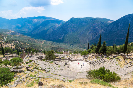 theatre: Ancient theater in Delphi, Greece in a summer day Stock Photo