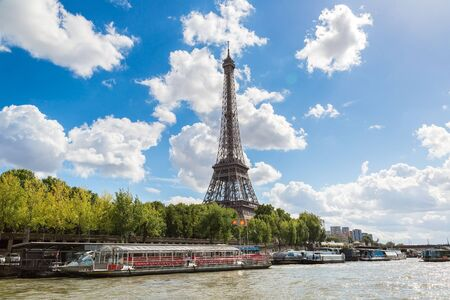 french culture: Seine and Eiffel tower in a beautiful summer day in Paris Stock Photo