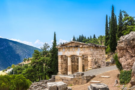 athenians: The Athenian treasury in Delphi, Greece in a summer day