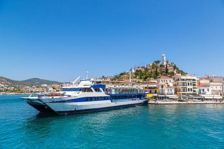 poros: Ferry on Poros island in a summer day in Greece