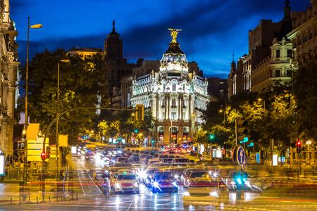 metropolis: Metropolis hotel in Madrid in a beautiful summer night, Spain