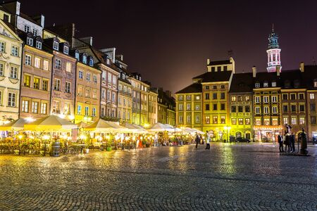 Old town sqare in Warsaw at night in Poland Stock Photo