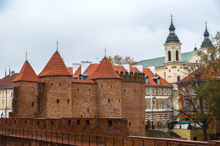 outpost: Barbican fortress in Warsaw in a summer day, Poland