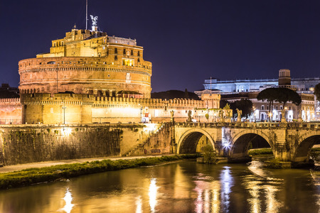 castel: Castel Sant Angelo in Rome, Italy at night Editorial